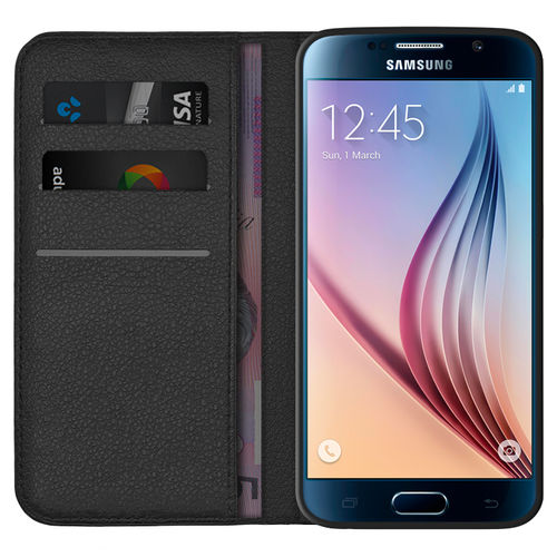 Leather Wallet Case & Card Holder Pouch for Samsung Galaxy S6 - Black